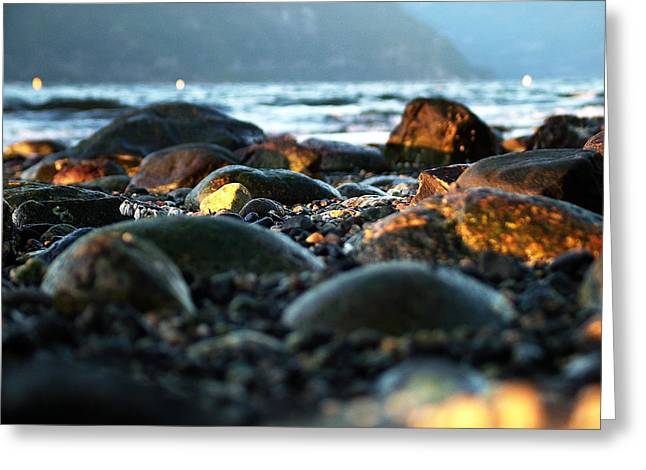 Low Tide Winter Sunset Greeting Card by Jeff Bach