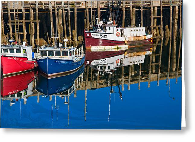 Boats And Reflections At Low Tide On Digby Bay Nova Scotia Greeting Card
