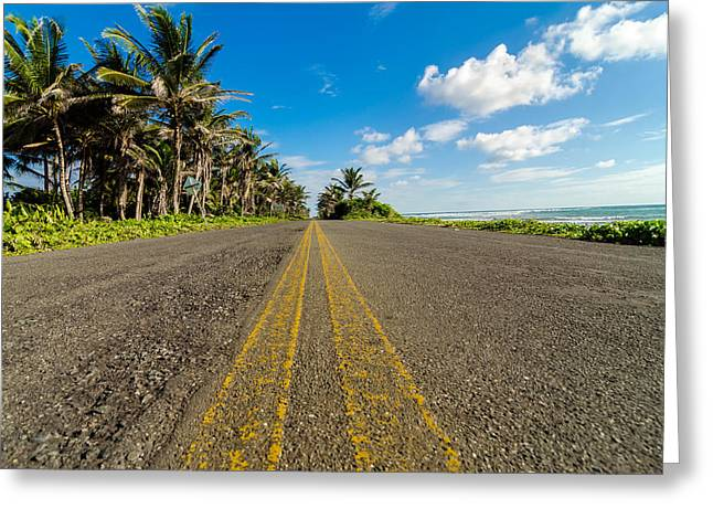 Low View Of Coastal Road Greeting Card