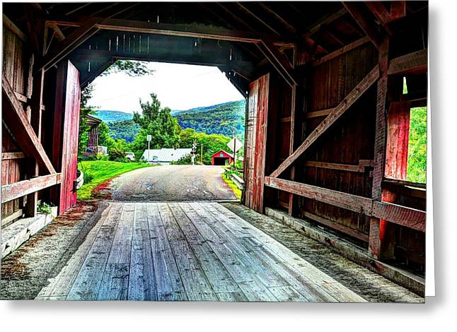 Lower Covered Bridge Greeting Card by John Nielsen