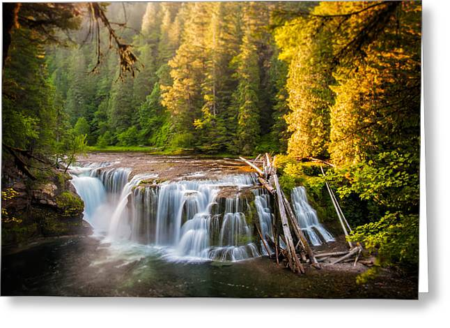 Lower Lewis River Falls Sunrise Greeting Card