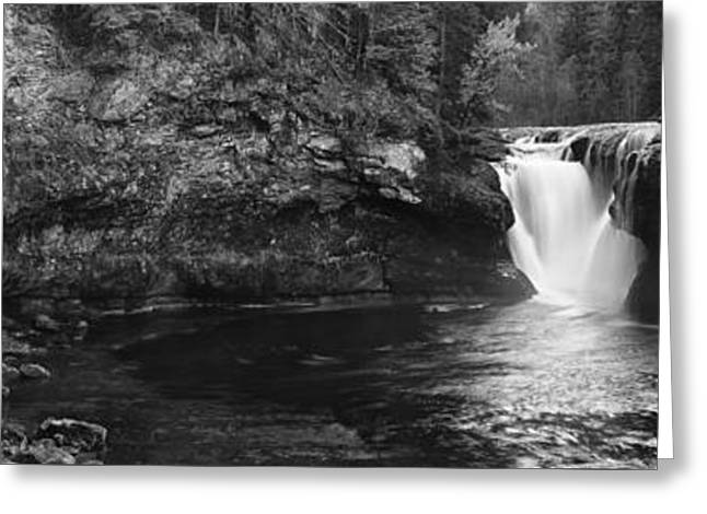 Lower Lewis River Waterfall Panorama - Black And White Greeting Card by Mark Kiver