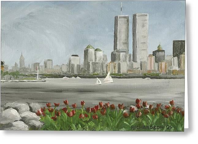 Lower Manhattan 1992 Greeting Card by Susan Richardson