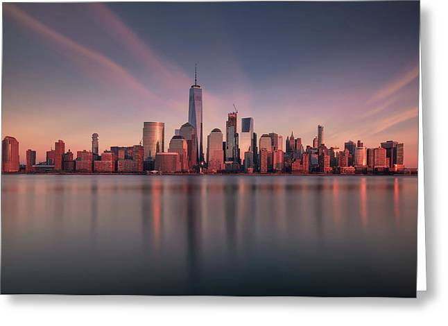 Lower Manhattan At Dusk Greeting Card