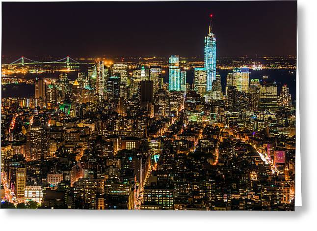 Lower Manhattan At Night 2 Greeting Card
