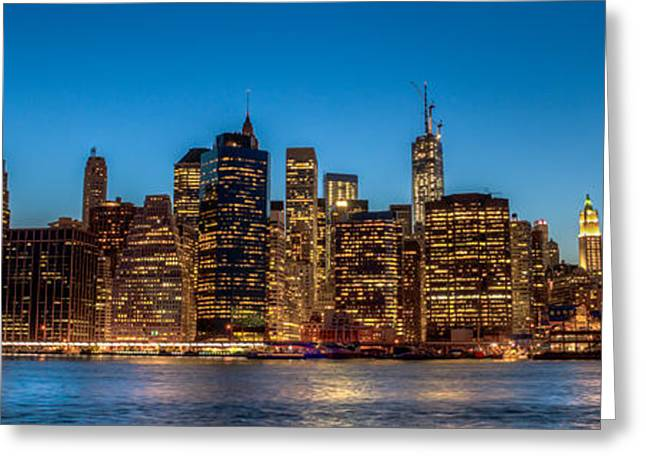 Lower Manhattan At Night Greeting Card