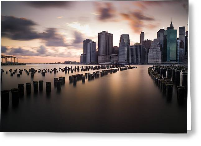 Lower Manhattan From Brooklyn Greeting Card by Chris Halford