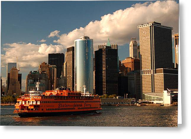 Greeting Card featuring the photograph Lower Manhattan  by James Kirkikis