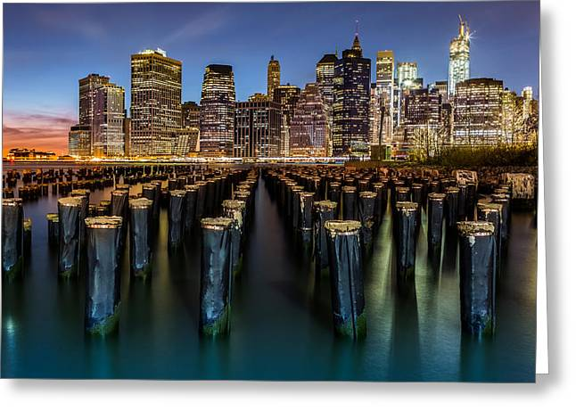 Lower Manhattan Greeting Card by Mihai Andritoiu