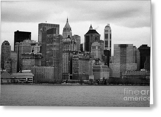 Lower Manhattan Shoreline And Skyline Waterfront Battery Park New York City Greeting Card by Joe Fox