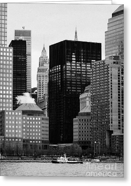 Lower Manhattan Shoreline And Skyline Waterfront New York City Greeting Card by Joe Fox