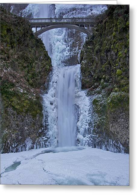 Greeting Card featuring the photograph Lower Multnomah Falls 120813a by Todd Kreuter