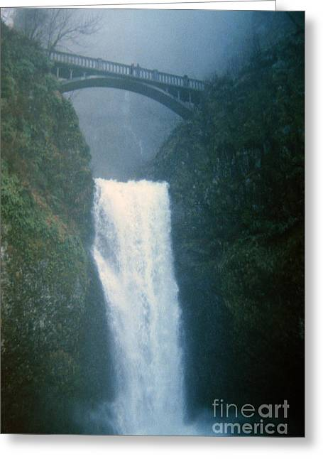 Lower Multnomah Falls Through The Mist Greeting Card