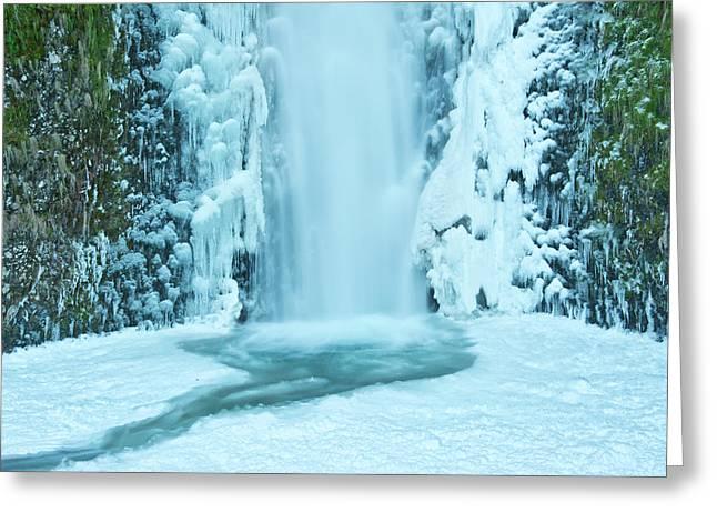 Lower Multnomah Falls, Winter, Frozen Greeting Card