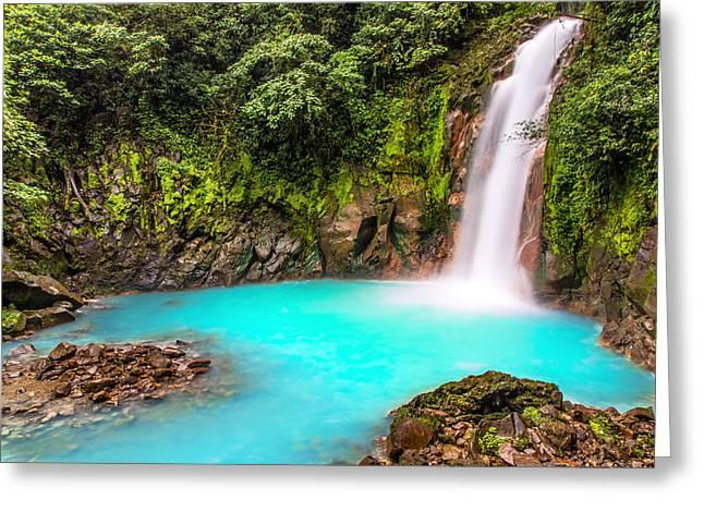 Lower Rio Celeste Waterfall Greeting Card