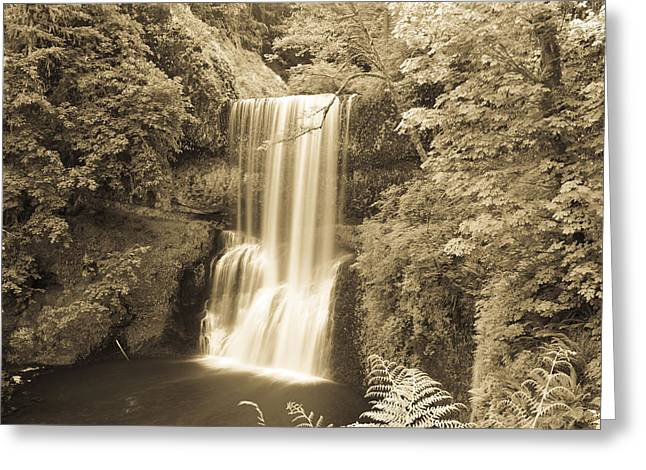 Lower South Falls In Sepia Greeting Card