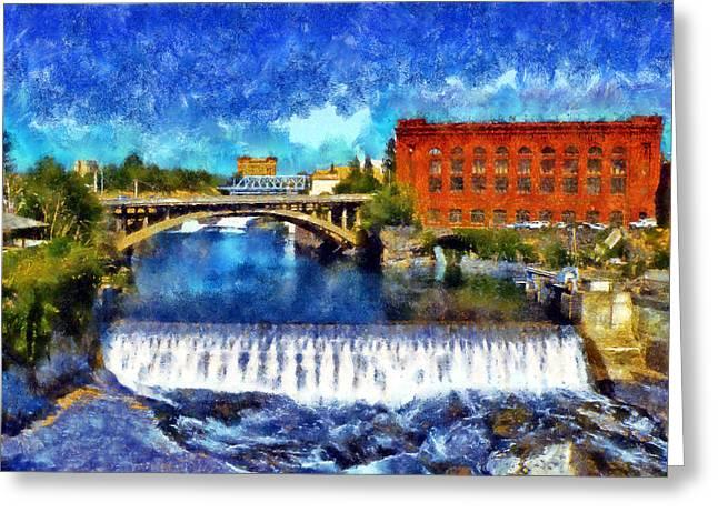 Lower Spokane Falls Greeting Card by Kaylee Mason