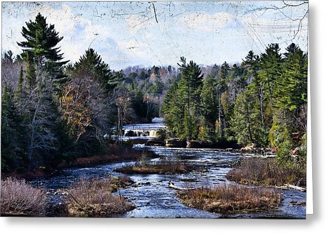 Lower Tahquamenon Falls Michigan Greeting Card by Evie Carrier