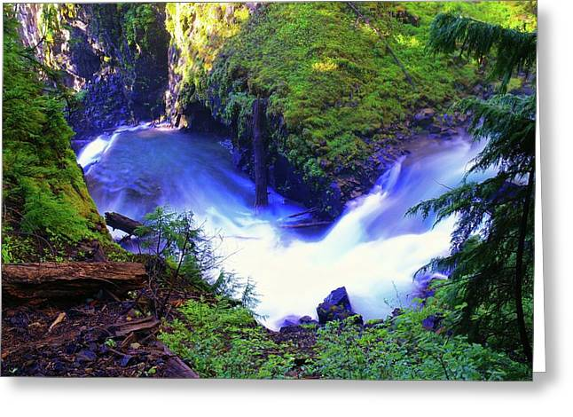 Lower Union Creek Falls  Greeting Card by Jeff Swan