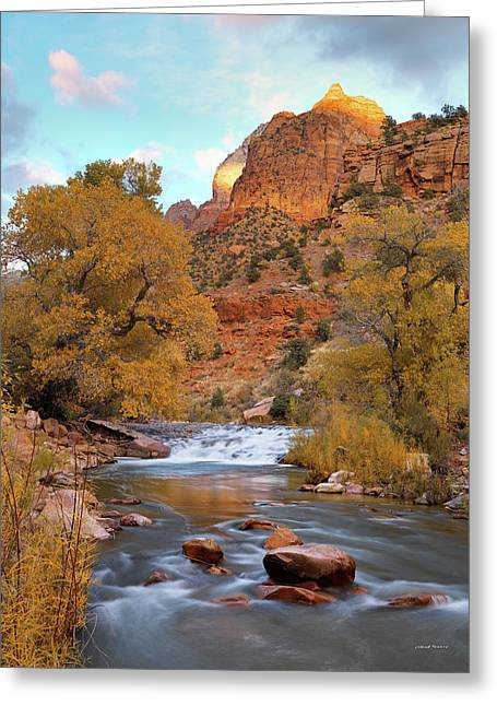 Lower Virgin River In Autumn Greeting Card by Leland D Howard