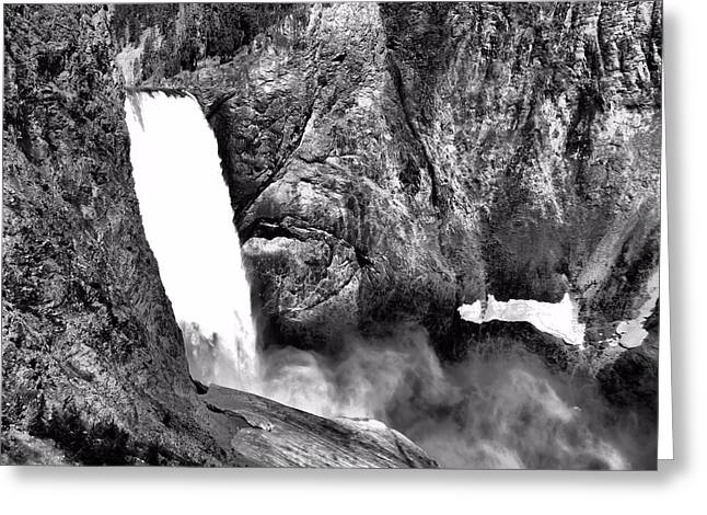 Lower Yellowstone Falls Black And White Greeting Card