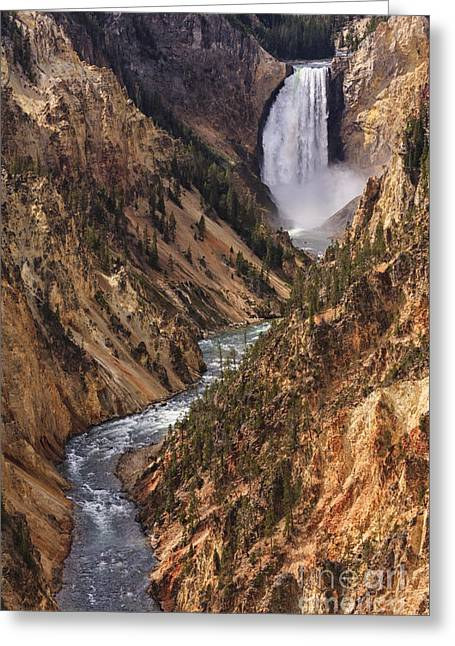 Lower Yellowstone Falls II Greeting Card by Mark Kiver