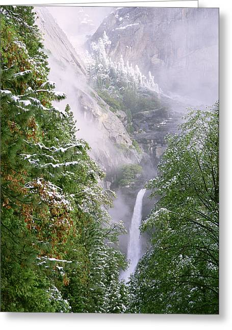 Lower Yosemite Falls After A Spring Storm Greeting Card