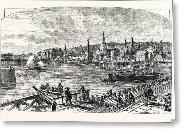 Lowestoft Harbour, Uk, Britain, British, Europe Greeting Card by English School