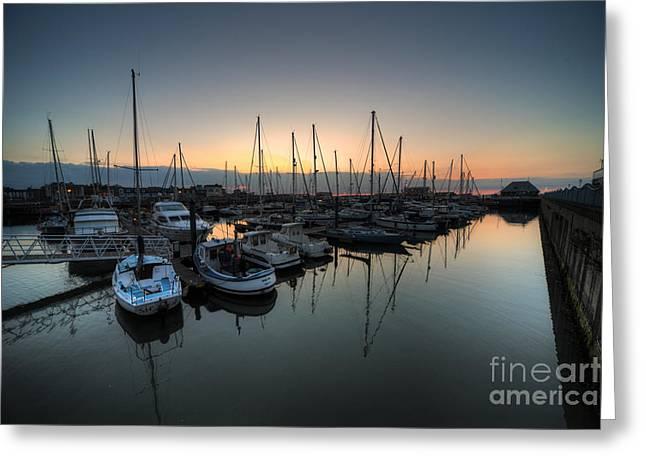 Lowestoft Marina At Dawn  Greeting Card by Rob Hawkins