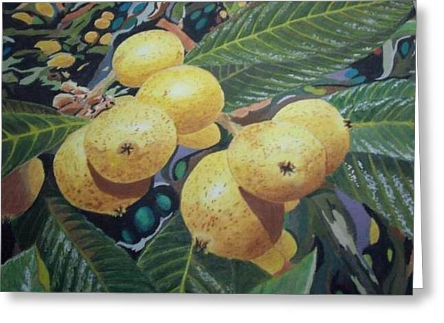 Greeting Card featuring the painting Lowquats 2 by Hilda and Jose Garrancho