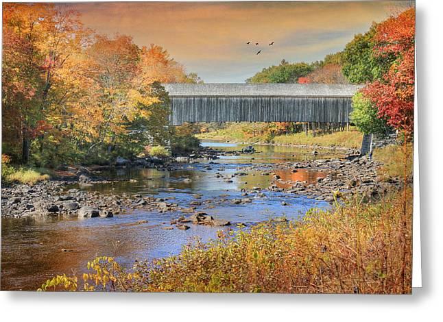 Low's Covered Bridge Greeting Card by Lori Deiter