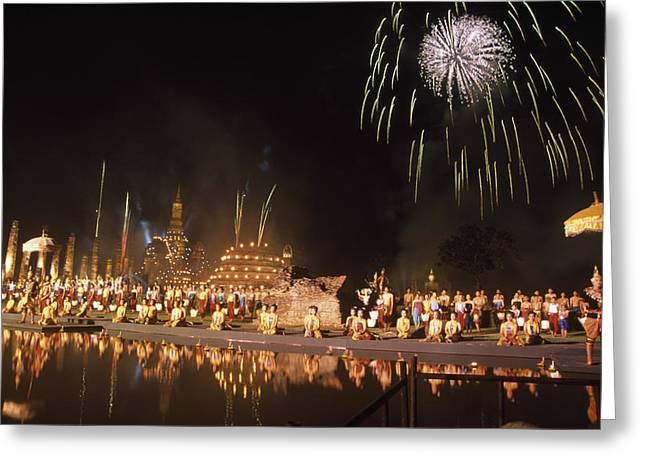 Loy Krathong Show In Thailand Greeting Card by Richard Berry