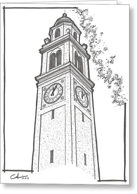 Greeting Card featuring the drawing Lsu Memorial Bell Tower by Calvin Durham