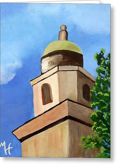 Greeting Card featuring the painting Lsu Memorial Tower by Margaret Harmon