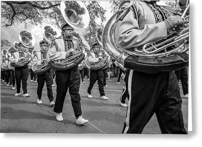 Lsu Tigers Band Monochrome Greeting Card by Steve Harrington