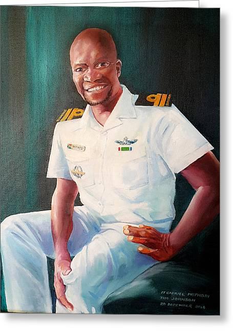 Greeting Card featuring the painting Lt Gabriel Mothobi by Tim Johnson