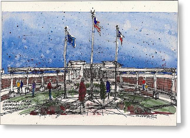 Greeting Card featuring the mixed media Lubbock Area Veterans War Memorial by Tim Oliver