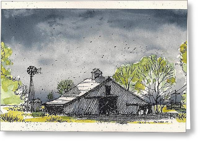 Greeting Card featuring the mixed media Lubbock County Barn by Tim Oliver