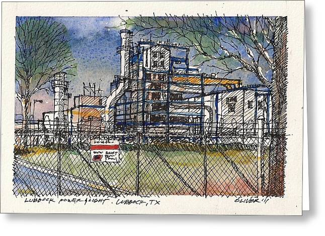 Greeting Card featuring the mixed media Lubbock Power And Light by Tim Oliver