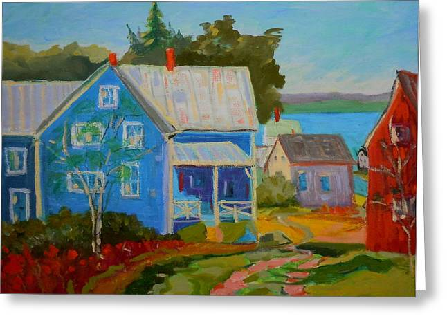 Lubec Village Greeting Card by Francine Frank