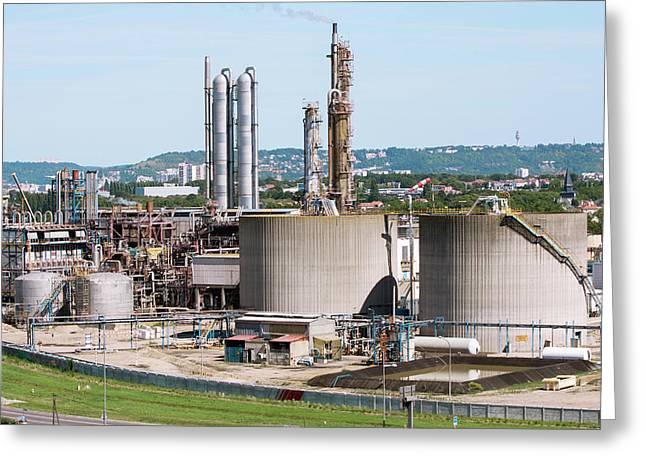 Lubricants Plant Greeting Card by Andrew Wheeler/science Photo Library