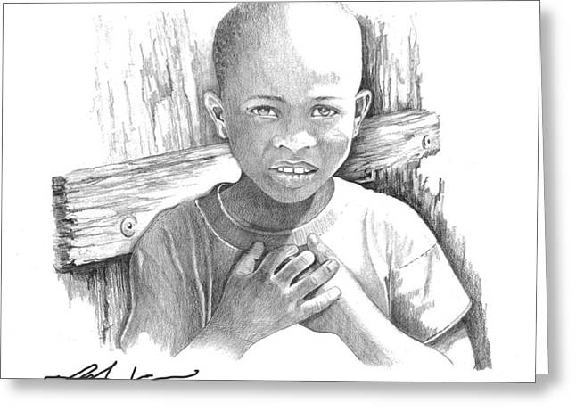 Greeting Card featuring the drawing Luc by Bob Salo