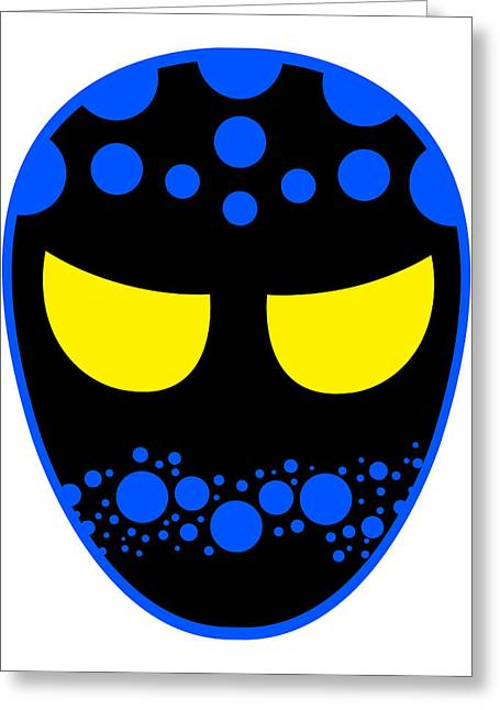 The Dreamweaver Luchador Black Blue Yellow Greeting Card by MX Designs
