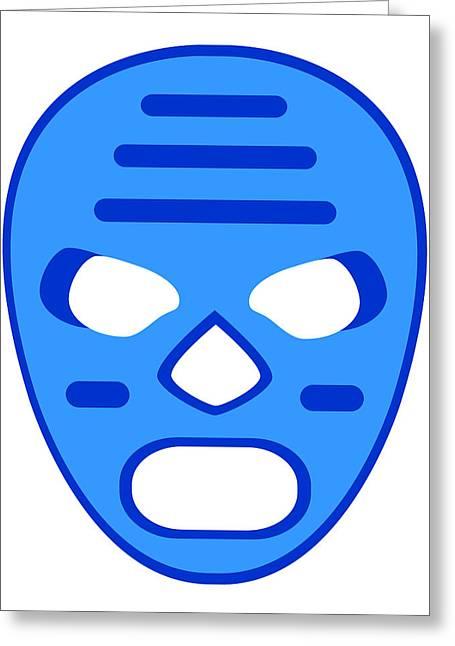 Blue Mummy Luchador Blue White Greeting Card by MX Designs