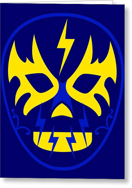 El Toques Luchador Blue Yellow Greeting Card by MX Designs