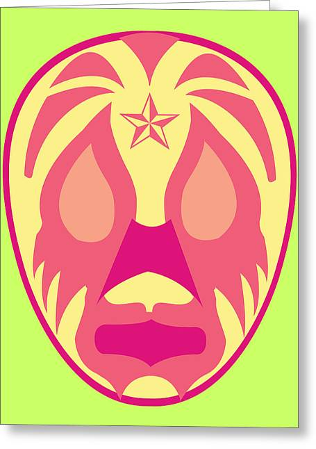 Payaso Loco Luchador Green Red Yellow Greeting Card by MX Designs