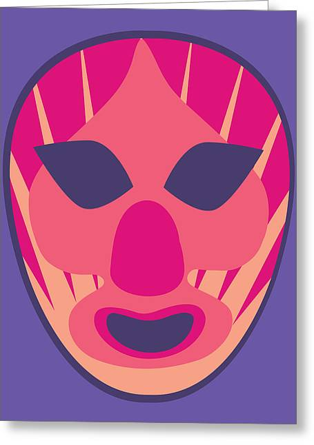 Scary Clown Luchador Purple Red Pastels Greeting Card by MX Designs