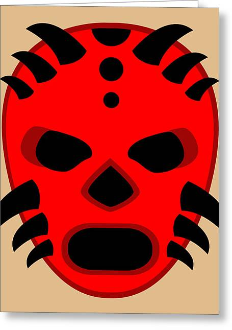 Horny Devil Luchador Red Black Beige Greeting Card by MX Designs