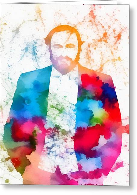 Luciano Pavarotti Paint Splatter Greeting Card by Dan Sproul