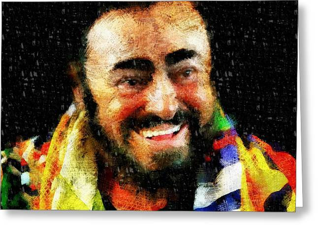 Luciano Pavarotti Greeting Card by Vasiliy Agapov